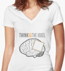 Think Outside the Voxel Women's Fitted V-Neck T-Shirt