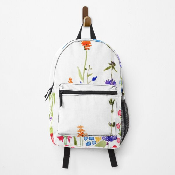 colorful wild flowers watercolor painting Backpack