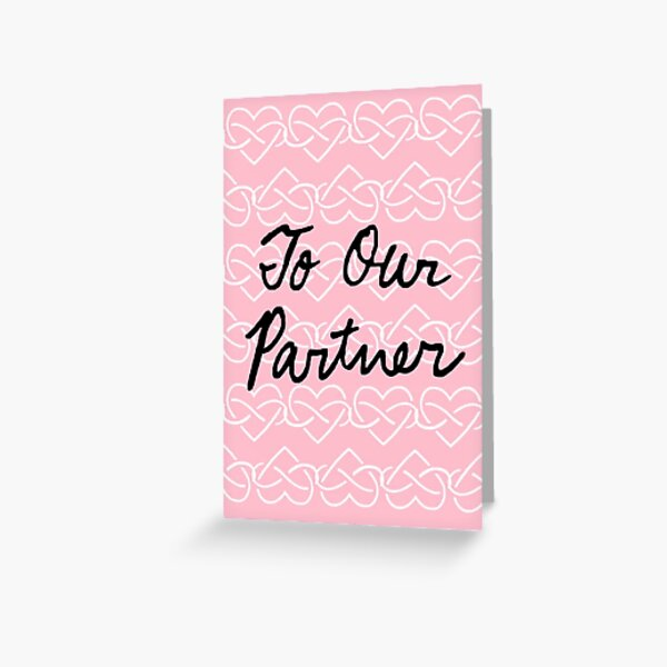 To Our Partner Pink Infinity Hearts Greeting Card