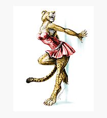 Anklet - Anthro Cheetah Girl Pin Up Photographic Print