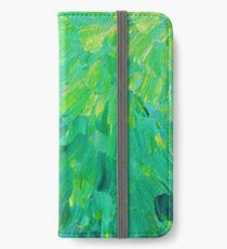 SEA SCALES in GREEN - Bright Green Ocean Waves Beach Mermaid Fins Scales Abstract Acrylic Painting iPhone Wallet/Case/Skin