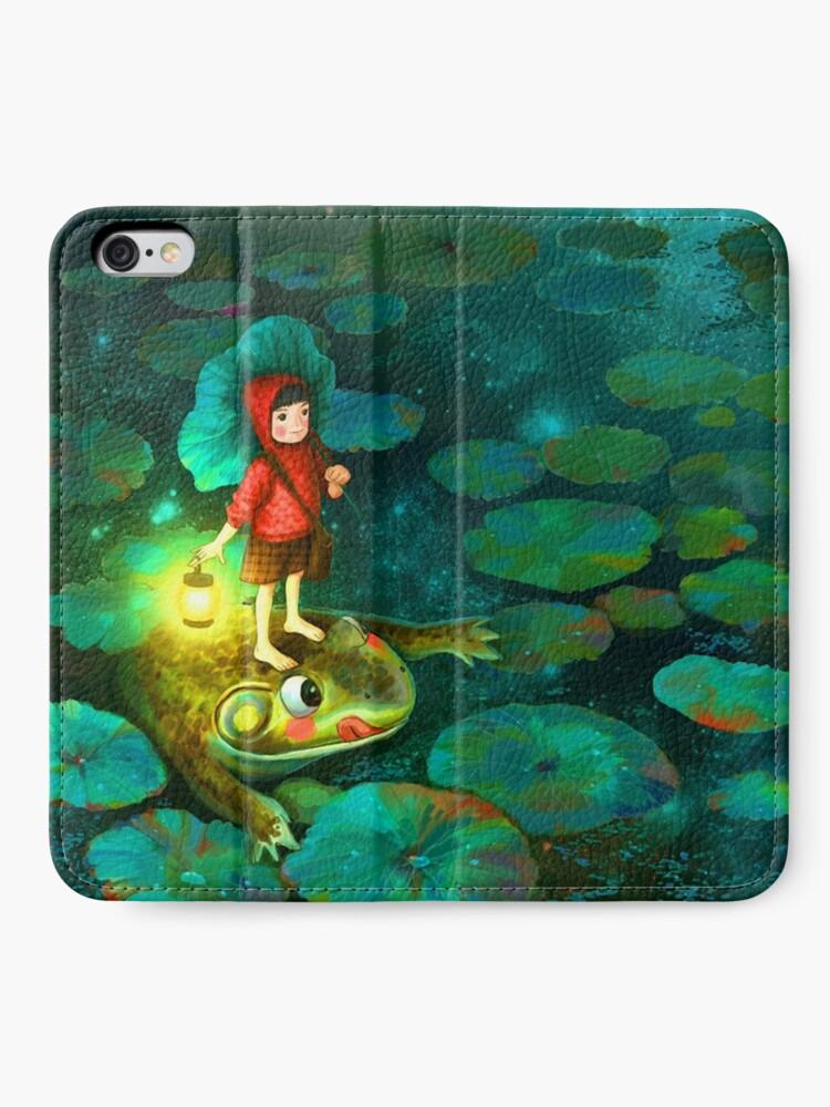 Vista alternativa de Fundas tarjetero para iPhone La niña en el estanque con la rana