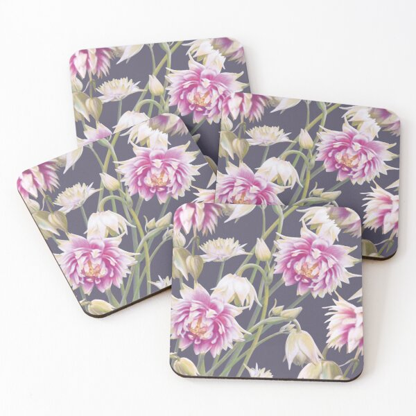 Nora Barlow Aquilegia Flowers Coasters (Set of 4)