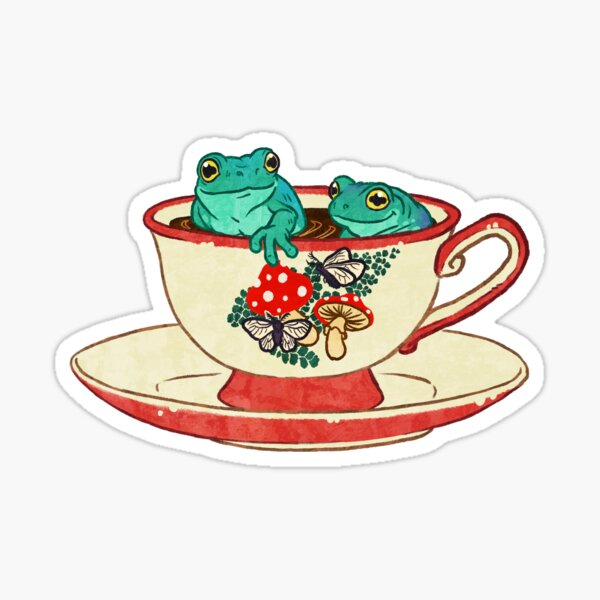 Tea Cup Frogs Sticker