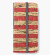 Vintage Patriotic American Flag on Old Wood Grain iPhone Wallet/Case/Skin