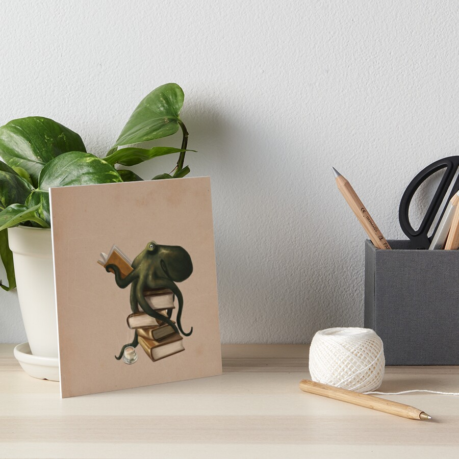 Well-Read Octopus Art Board Print