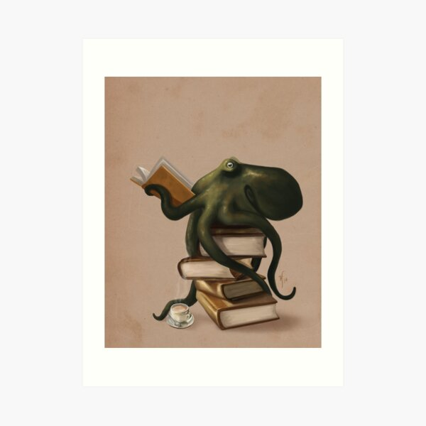 Well-Read Octopus Art Print