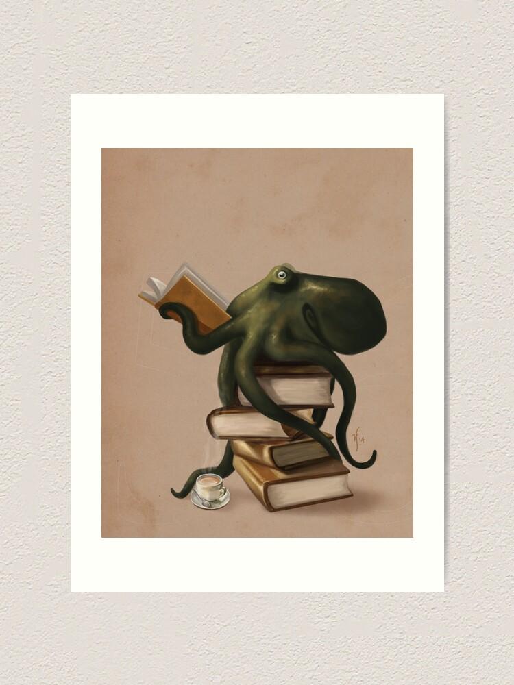 Alternate view of Well-Read Octopus Art Print