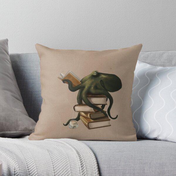 Well-Read Octopus Throw Pillow