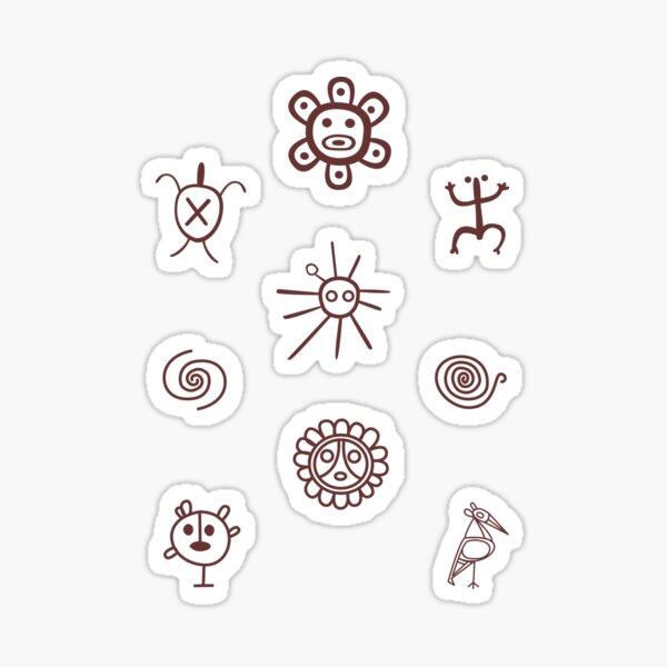 Set de Simbolos Tainos Puerto Rico Brown Pegatina