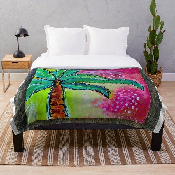 Florida fushia palms Throw Blanket