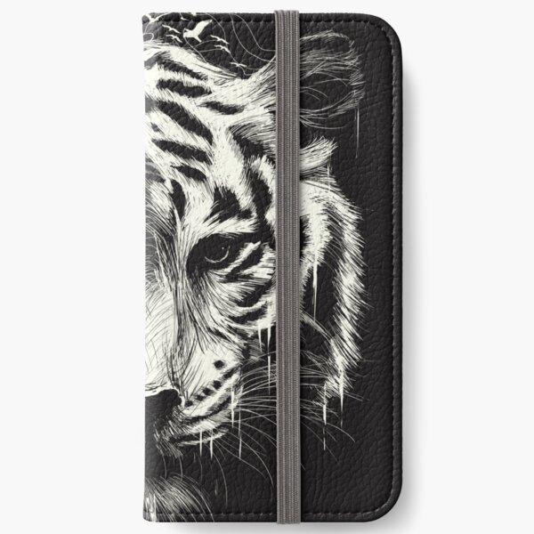 Tiger repräsentiert Land und Eistropfen symbolisieren Wasser. iPhone Flip-Case