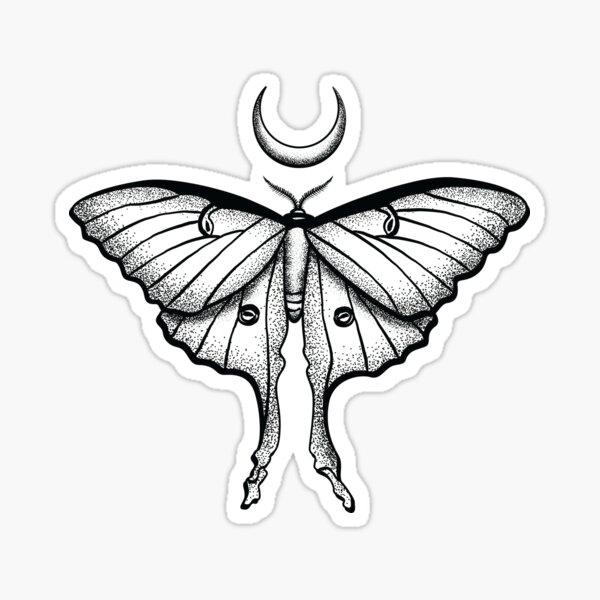 Luna Moth Black Insect Crescent Moon Beautiful Elegant Design for Insect or Bug Lovers (s) Sticker