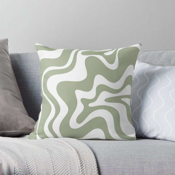 Liquid Swirl Contemporary Abstract Pattern in Sage Green and White Throw Pillow