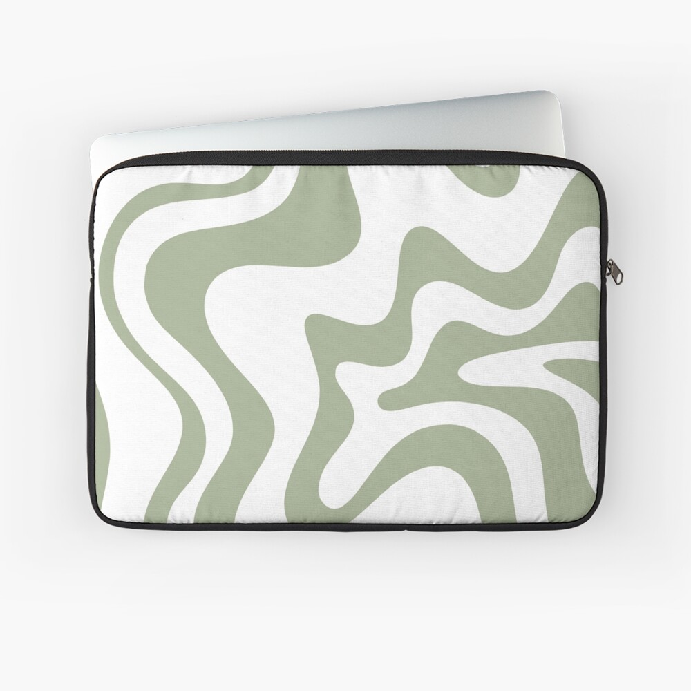 Liquid Swirl Contemporary Abstract Pattern in White and Sage Laptop Sleeve