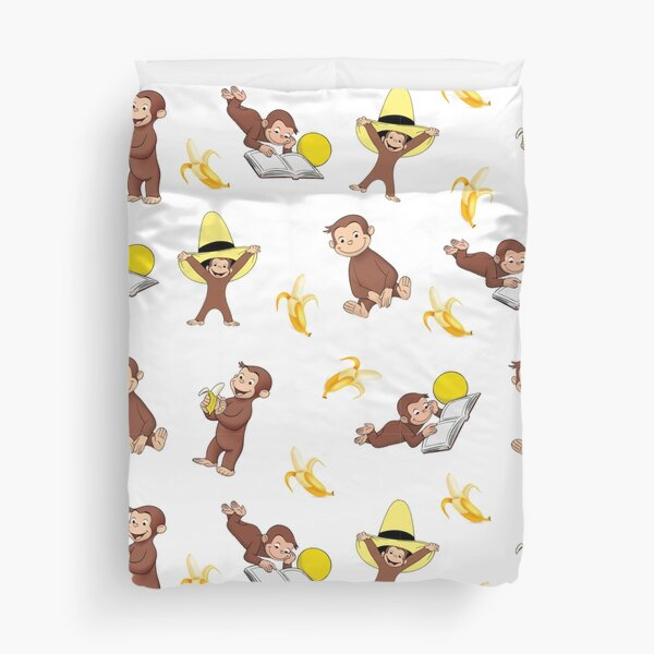 George the curious monkey cartoon for kids pack  Duvet Cover