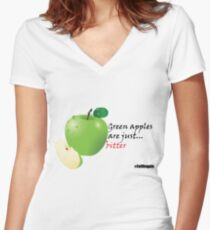 Green apples are just... bitter Women's Fitted V-Neck T-Shirt