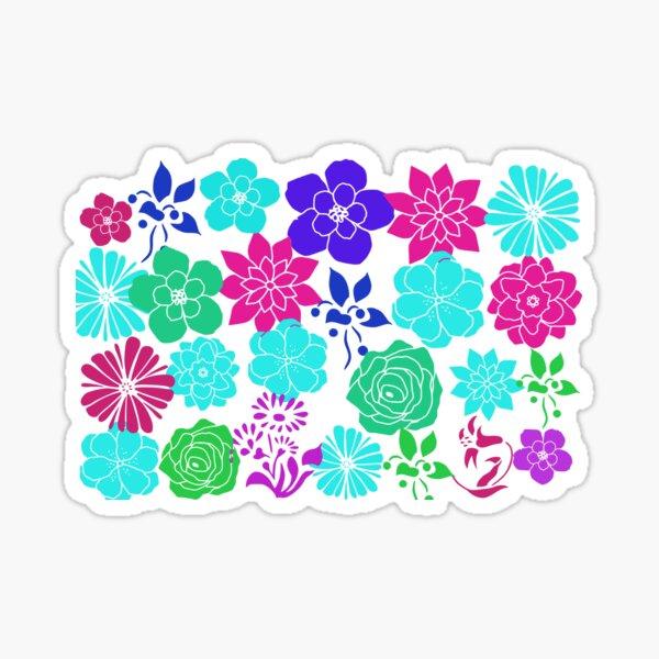 Flowers, Pink Flowers, Blue Flowers, Green Flowers, Purple Flowers Sticker