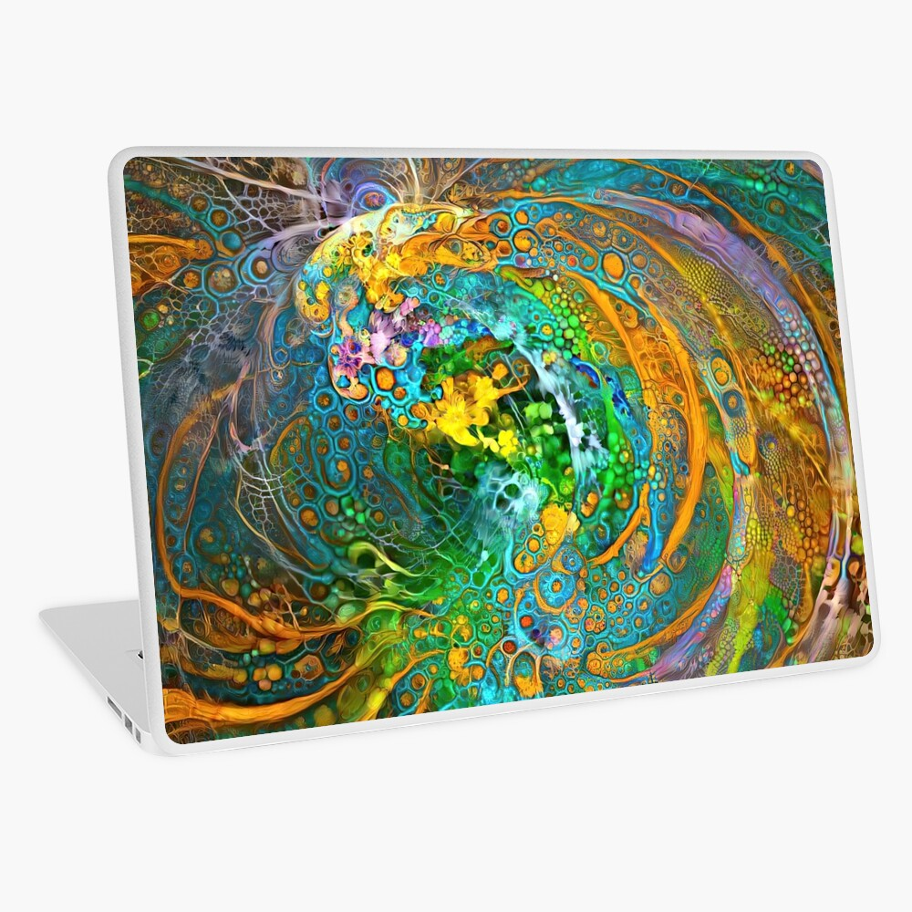 Deepdream floral fractalize space galaxy wave abstraction Laptop Skin