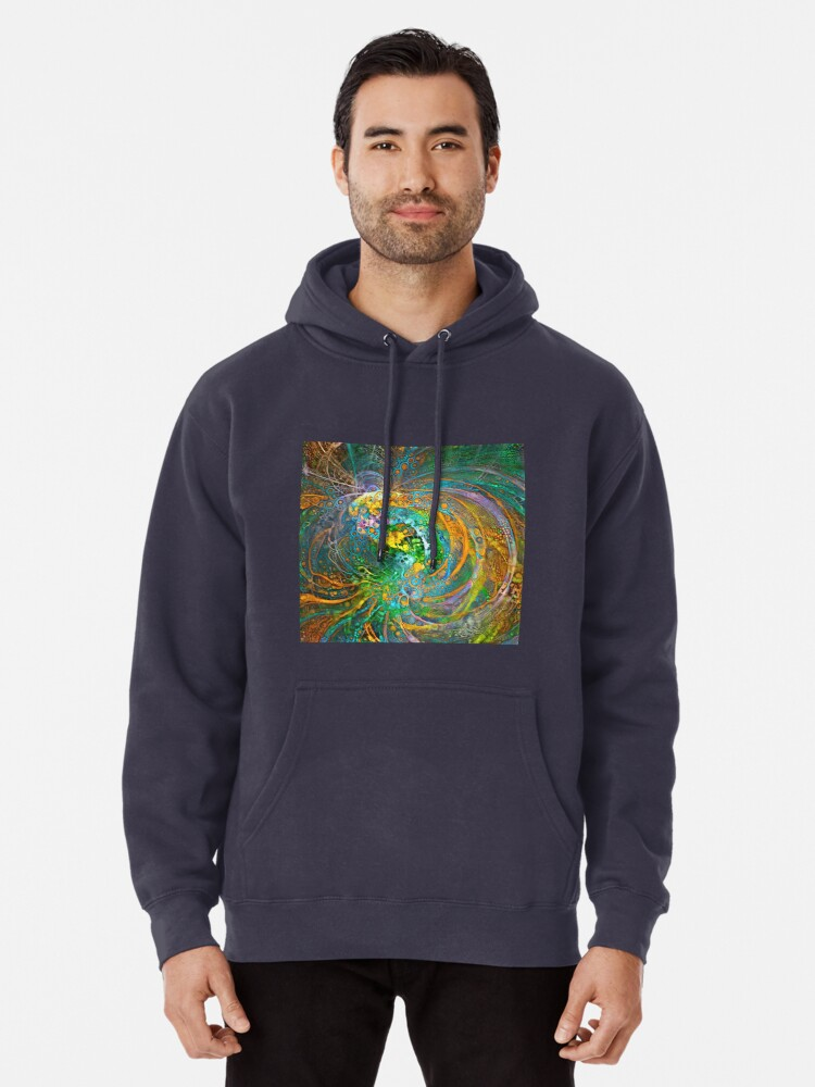 Alternate view of Deepdream floral fractalize space galaxy wave abstraction Pullover Hoodie