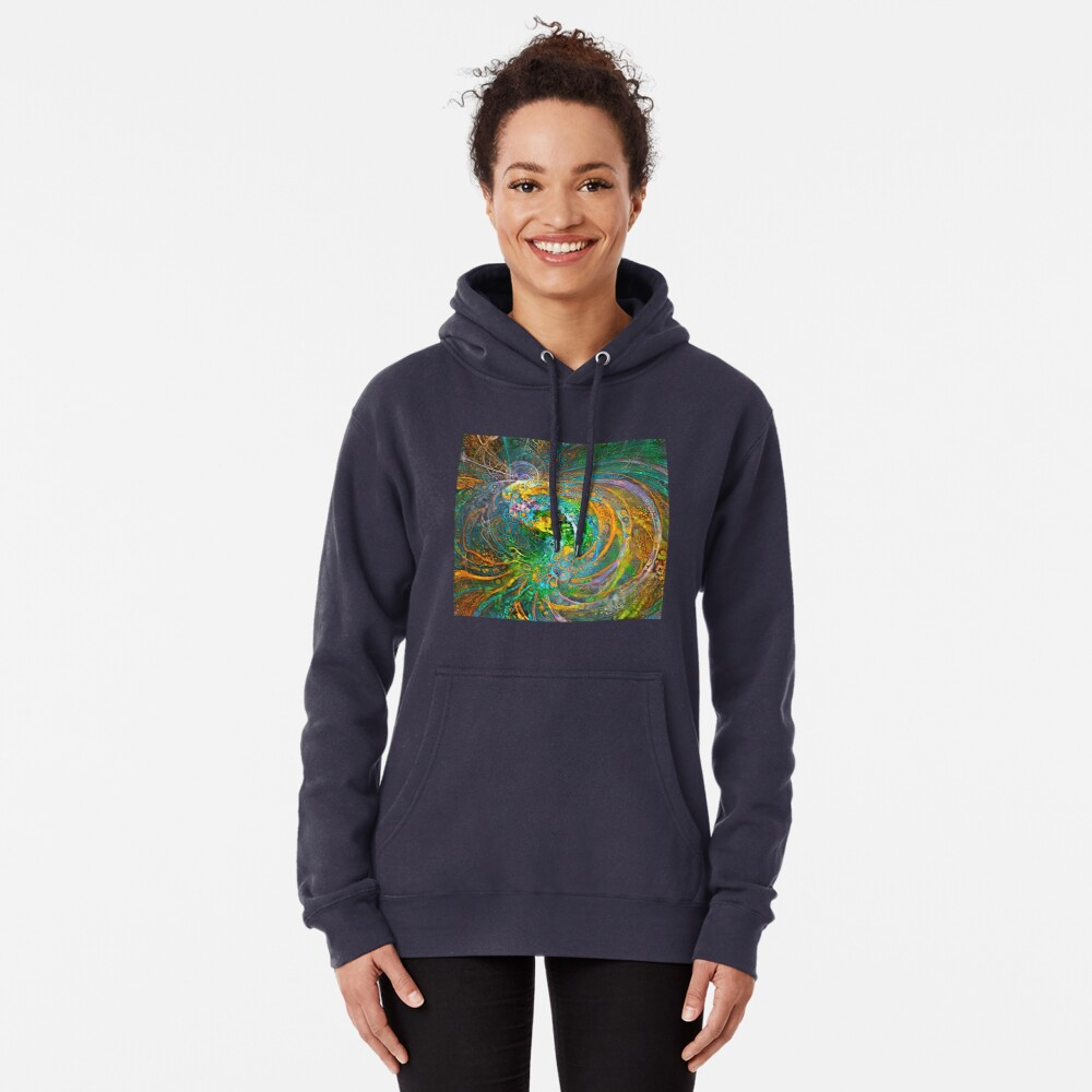 Deepdream floral fractalize space galaxy wave abstraction Pullover Hoodie