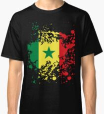 Senegal Flag Ink Splatter Classic T-Shirt