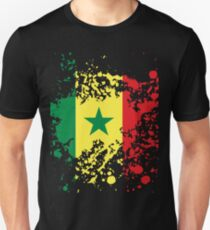 Senegal Flag Ink Splatter Unisex T-Shirt