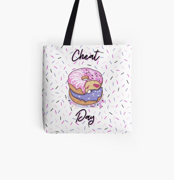 CHEAT DAY Donut pattern pink, purple, confetti background, jelly filled sprinkles, WHITE BACKGROUND All Over Print Tote Bag
