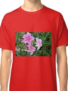 Pink flowers macro, natural background. Classic T-Shirt