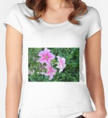 Pink flowers macro, natural background. Women's Fitted Scoop T-Shirt