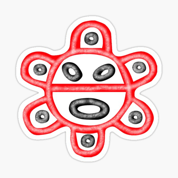 Red and Black Taino Sun Sticker