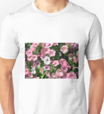 Pink flowers bush in the garden. Unisex T-Shirt