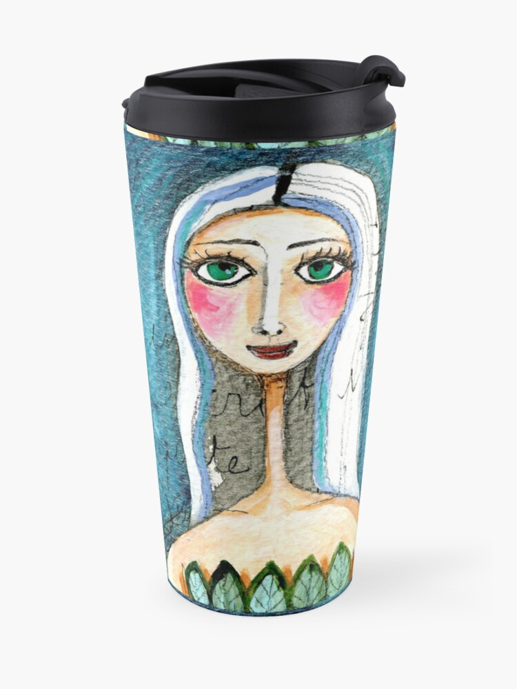 Alternate view of Pretty Woman Portrait with Green Eyes and Blue Colors, text, writing Meloearth Travel Mug