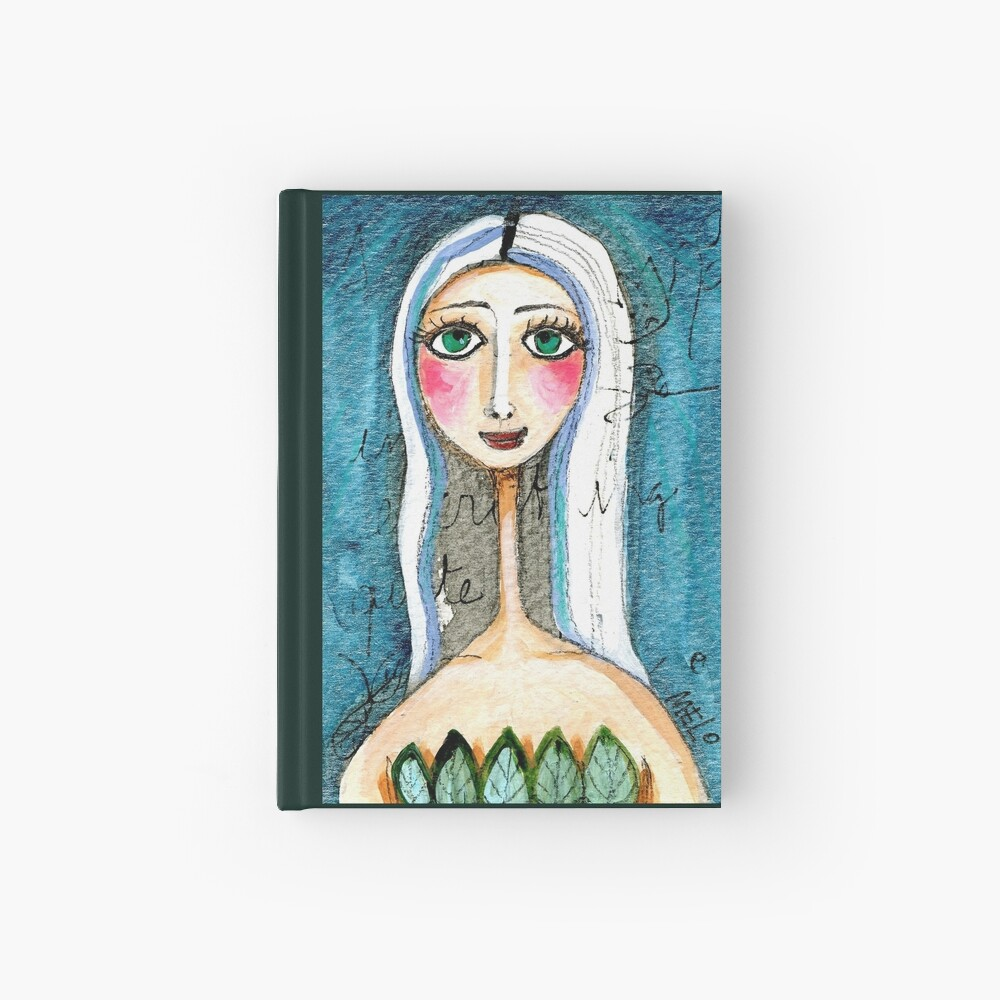 Pretty Woman Portrait with Green Eyes and Blue Colors, text, writing Meloearth Hardcover Journal