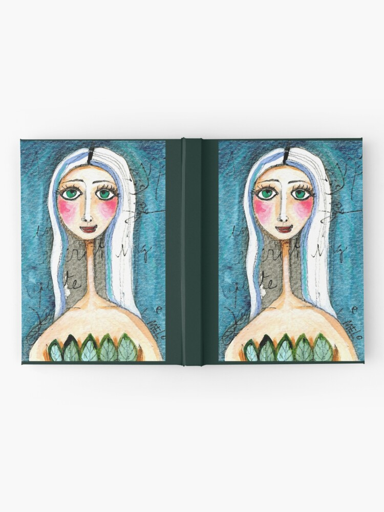 Alternate view of Pretty Woman Portrait with Green Eyes and Blue Colors, text, writing Meloearth Hardcover Journal