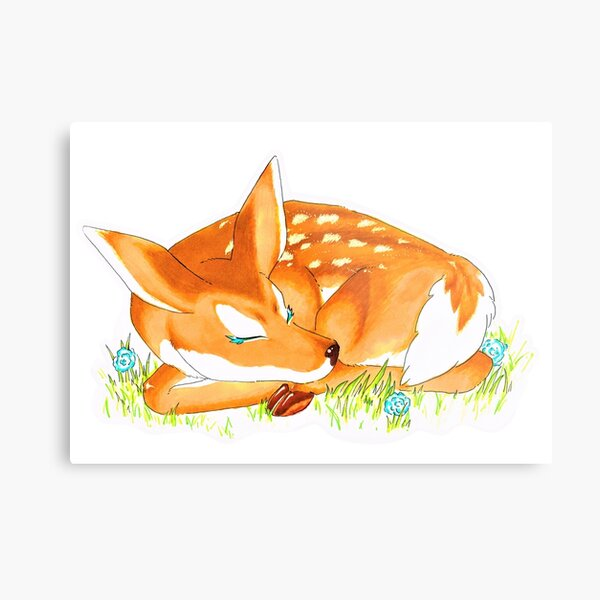 Sleeping fawn with flowers Metal Print
