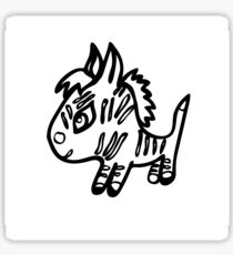 the little Zebra is made with black lines Sticker