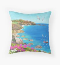 Path to The Lizard Lighthouse Throw Pillow