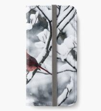 Cardinal In Snow Covered Tree iPhone Wallet/Case/Skin