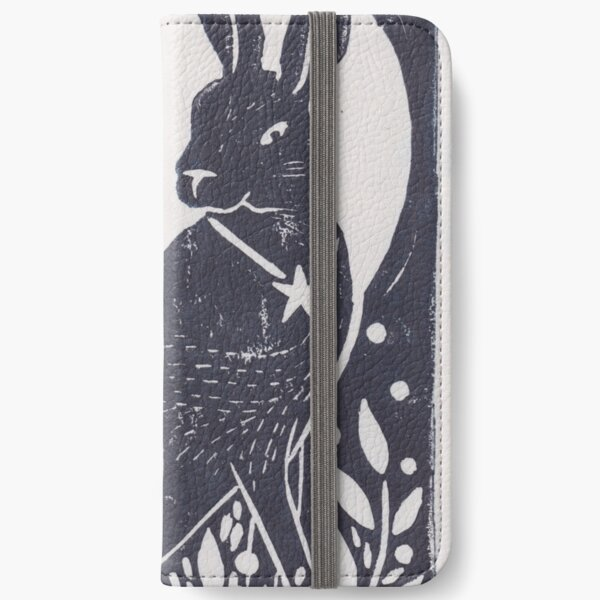 Hare and Moon Lino Print iPhone Wallet