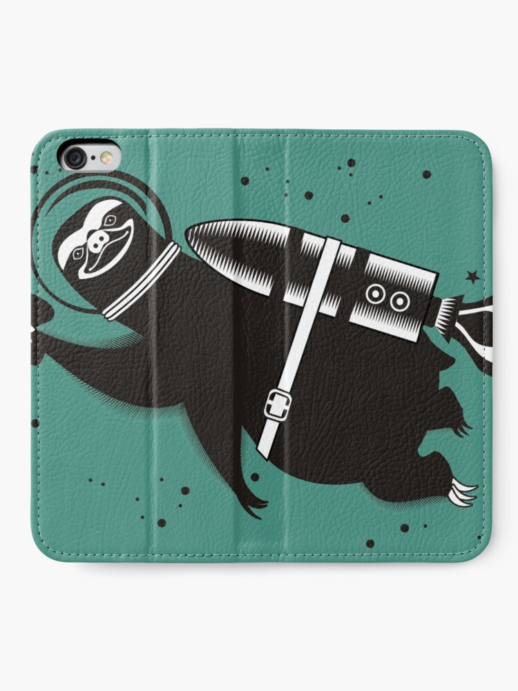 Alternate view of Outer space sloth rocket ray gun iPhone Wallet
