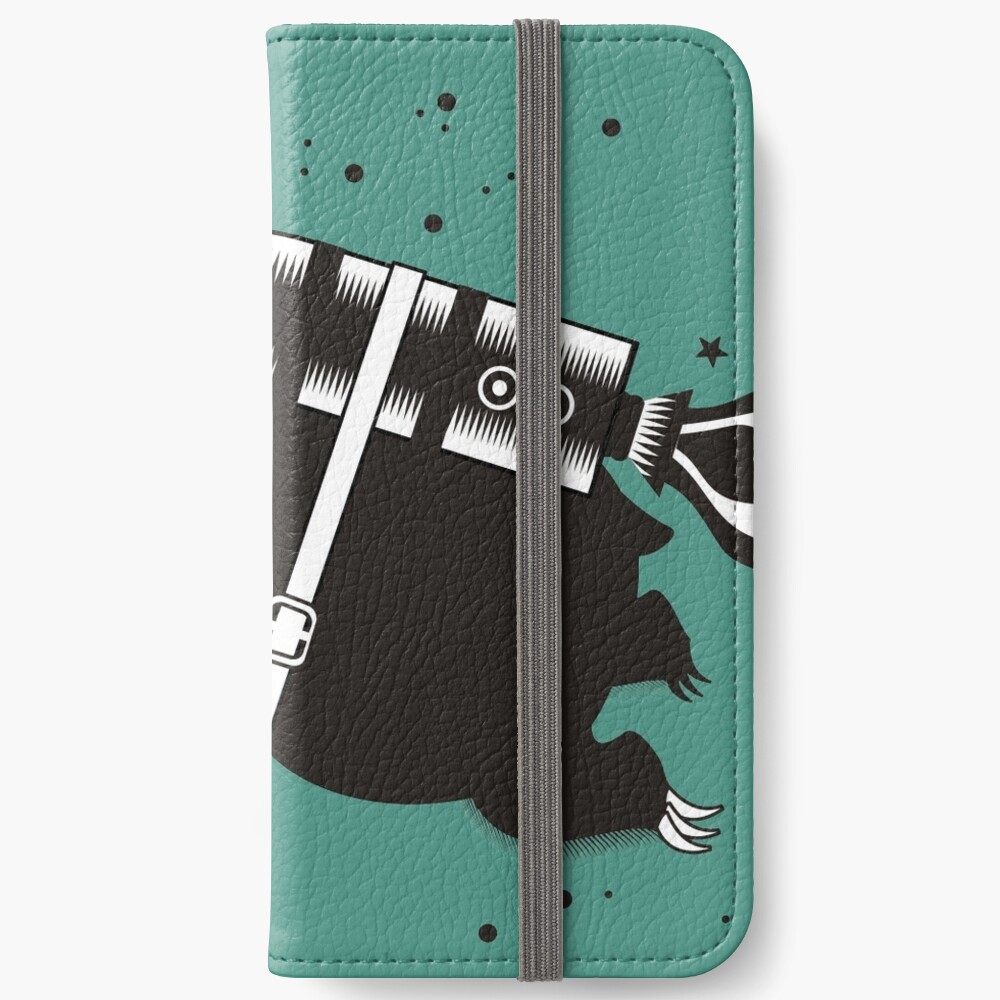 Outer space sloth rocket ray gun iPhone Wallet