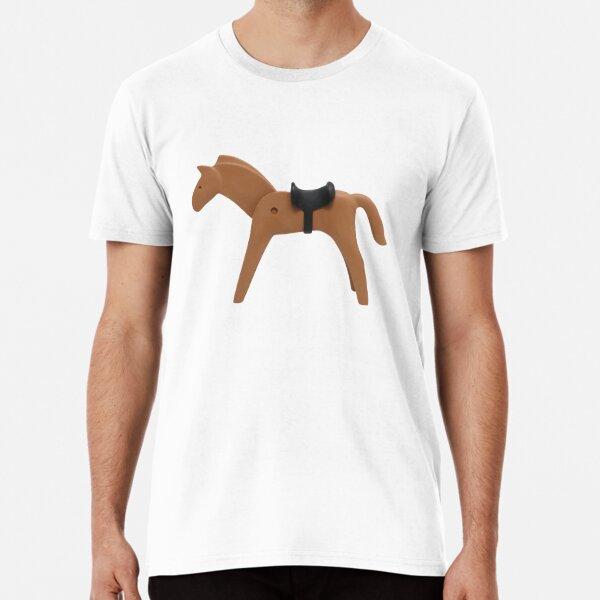 Horsin 'around, memoria de la infancia #horse #playmobil #sexysushi # riding #fille #girly #passioncheval #funny #enfance #souvenir Camiseta premium