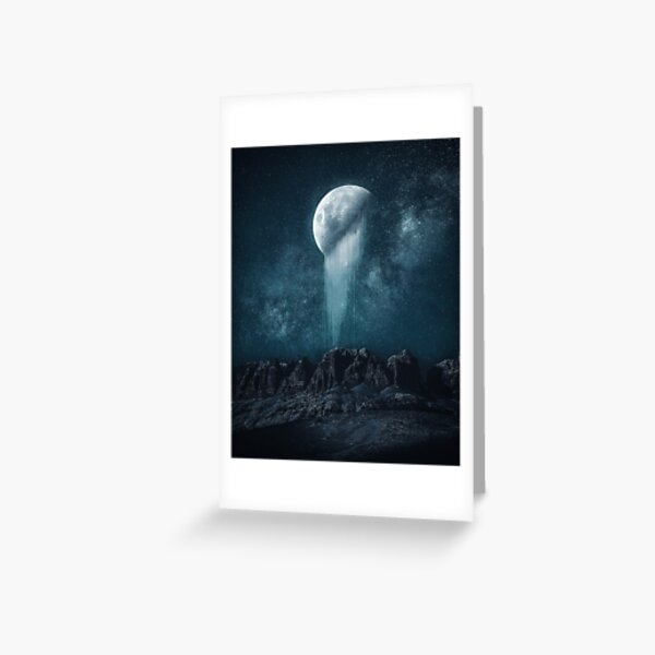 Broken Moon over Rocky Landscape Greeting Card