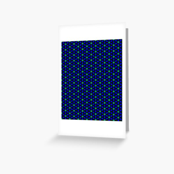 Deep Indigo and Green Daisy Pattern Greeting Card