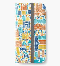 Barcelona City Map Poster iPhone Flip-Case/Hülle/Skin