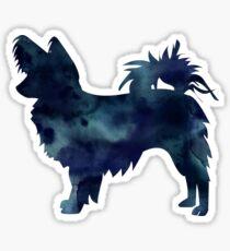 Papillon Dog Black Watercolor Silhouette Sticker