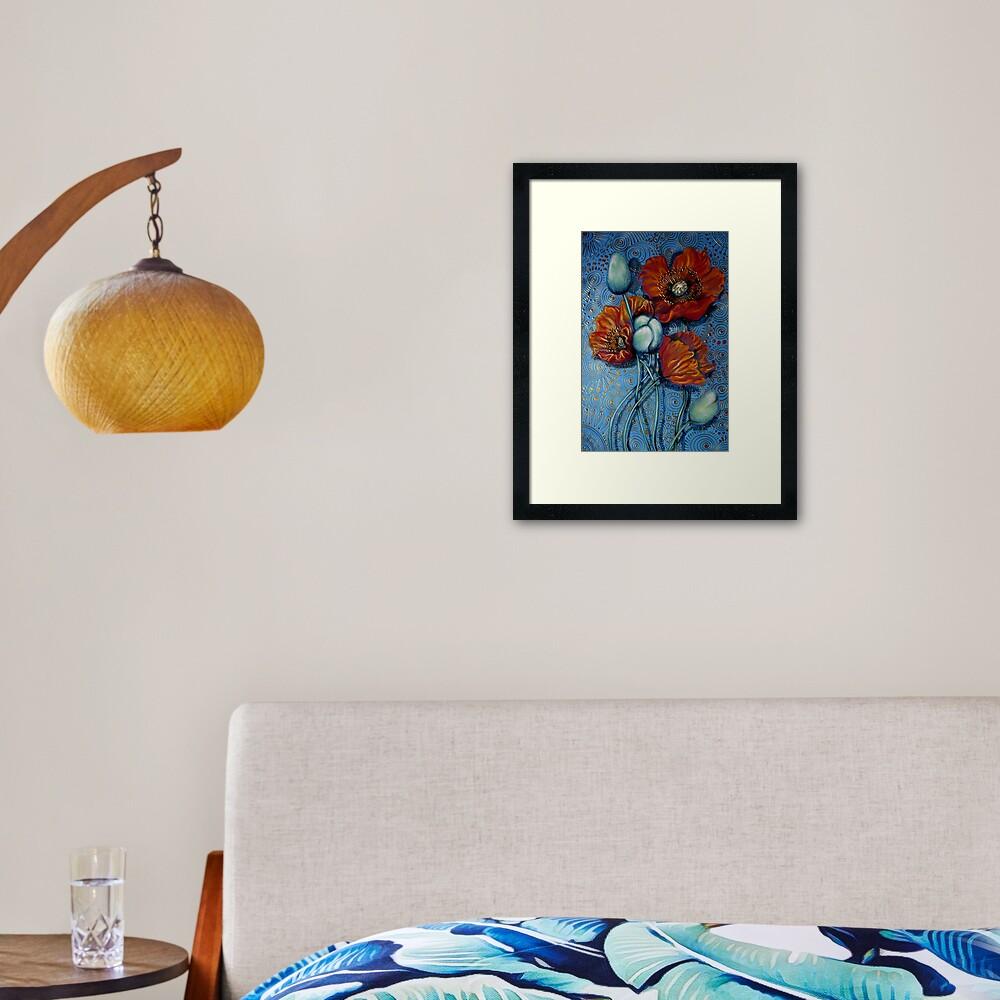 Orange Poppies on Blue Framed Art Print