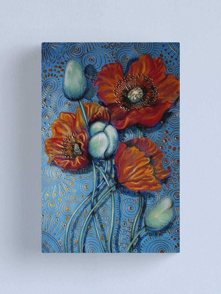 Alternate view of Orange Poppies on Blue Canvas Print