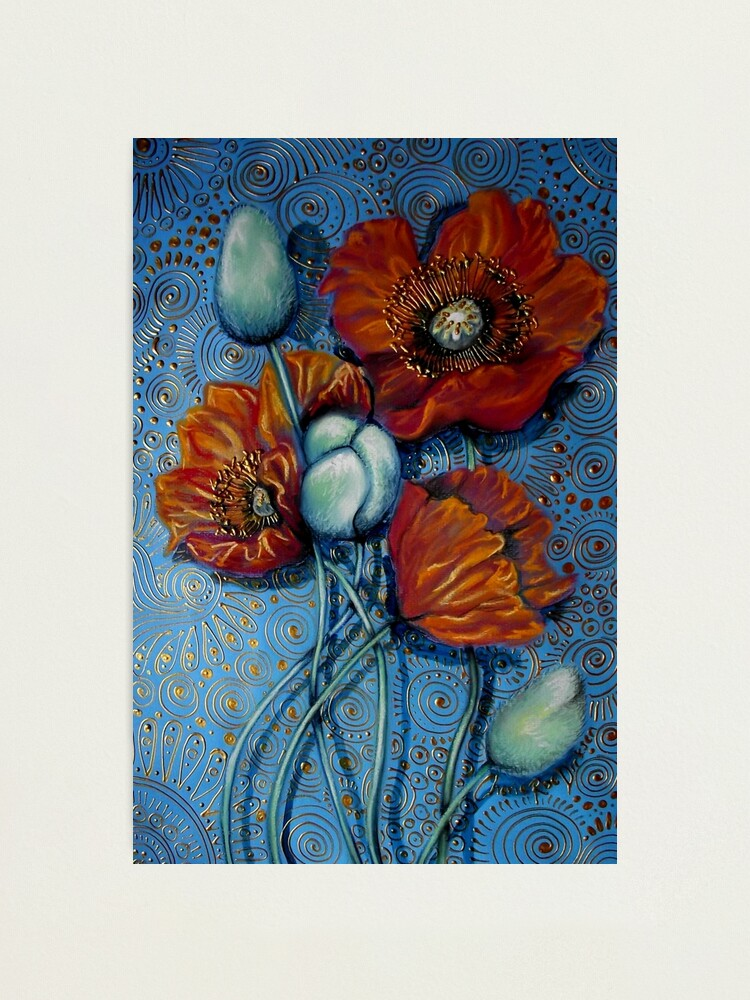 Alternate view of Orange Poppies on Blue Photographic Print